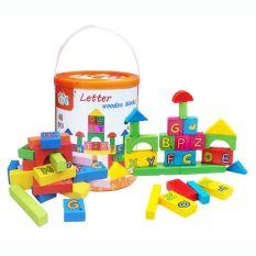 Jucarie educativa  Cuburi de lemn in cutie cu litere